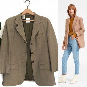 Vintage Oversized Wool Blend Houndstooth Blazer!